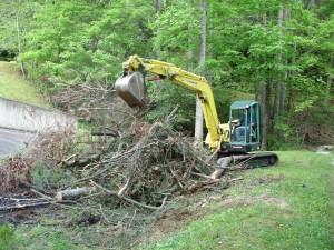 Bulldozer Moving Brush